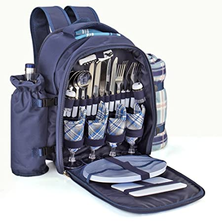 Flexzion Picnic Backpack Kit – Set for 4 Person With Cooler Compartment, Detachable Bottle Wine Holder, Fleece Blanket, Plates and Flatware Cutlery Set Plaid Tartan – Blue