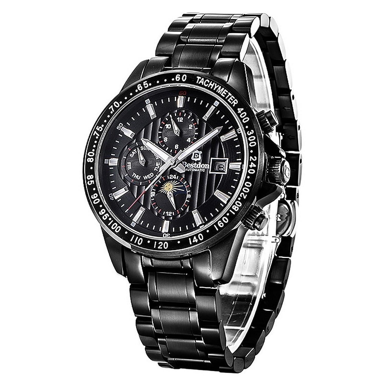 Souarts Herren Schwarz Wasserdicht Automatik Skelett Armbanduhr mit Edelstahl Zifferblatt Kalender Uhr