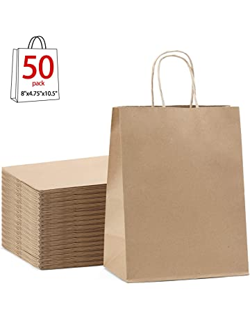 ba9c0f99a7ff3b GSSUSA Brown Gift Bags 8x4.75x10.5 50Pcs Kraft Paper Bag,Party Bags
