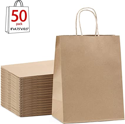 "2,000 x 8/"" x 8/"" Brown Paper Kraft Food Retail Bags"