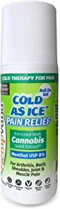 Hempvana Cold As Ice Cold Therapy for Pain, Convenient Pain Relief Roll On Gel with Menthol USP 8% & Enriched with Cannabis Seed Extract (1 Pack)