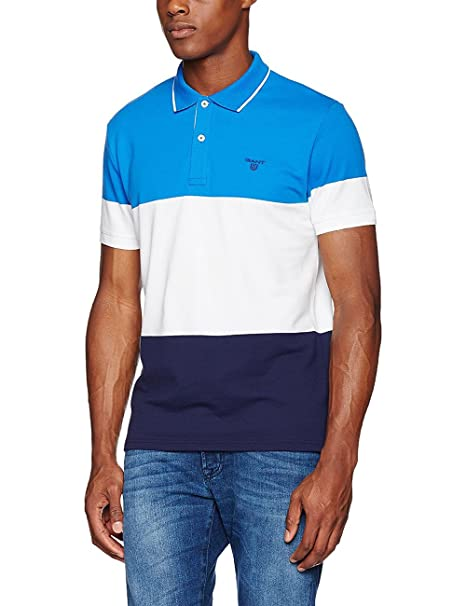 Gant O1. Color Block Pique SS Rugger Polo, Azul (Nautical Blue 422 ...