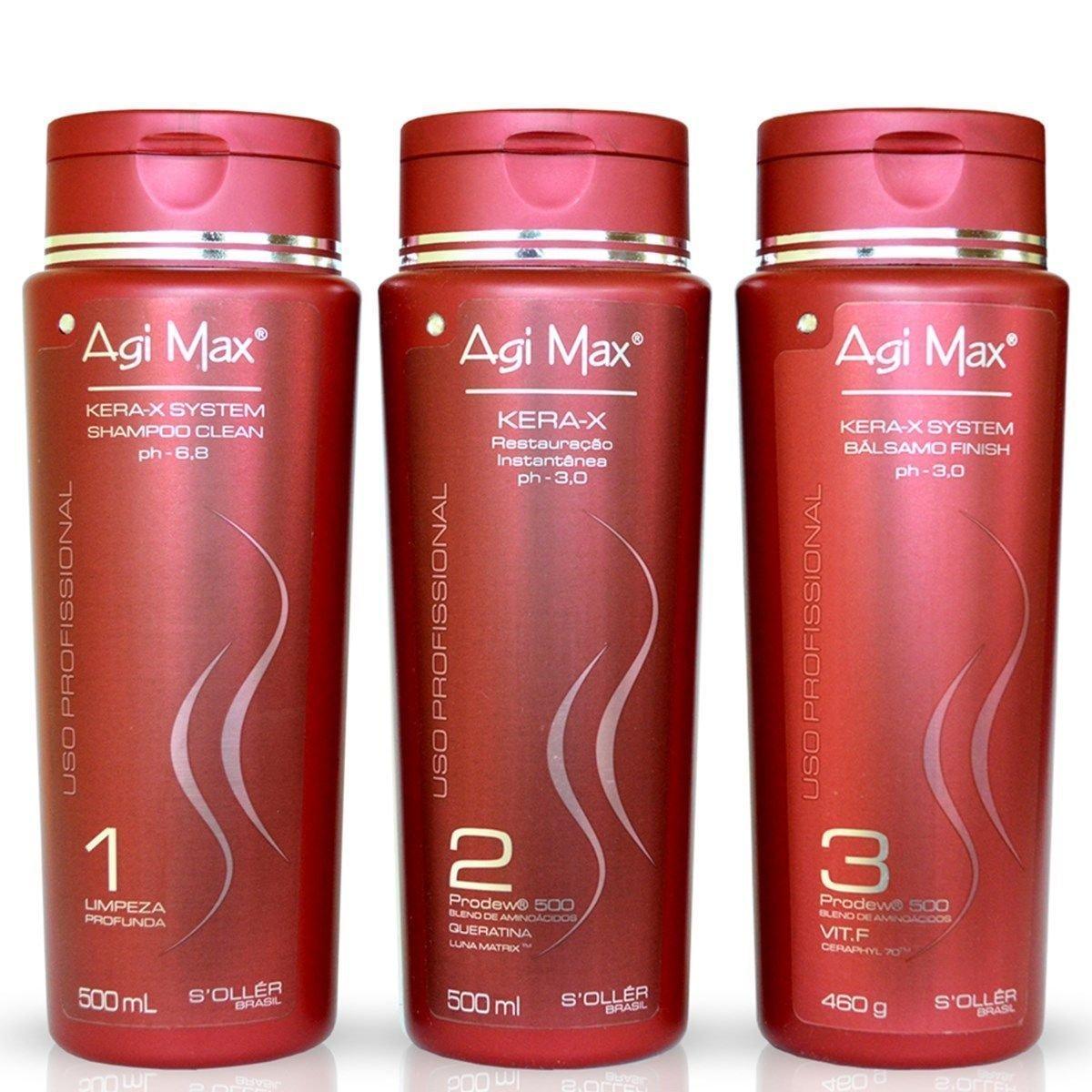Agi Max Brazilian Keratin Hair Treatment Kit 500ml - 3 Steps (3 x 500ml) - The Best Straightening!
