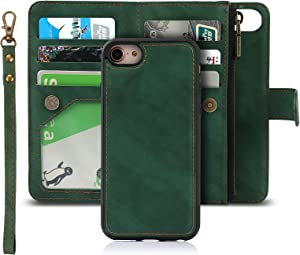 Jaorty Wallet Case Compatible with iPhone 7/8/iPhone SE 2nd 2020,iPhone 6/6s Case [6 Card Slots] [Wrist Strap] [Stand Feature] Detachable 2 in 1 Magnetic Zipper Leather Slim Cover Case,4.7