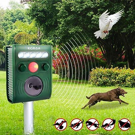 KCASA KC-JK369 Garden Ultrasonic PIR Sensor Solar Animal Repeller Strong Flashlight Bird Repel