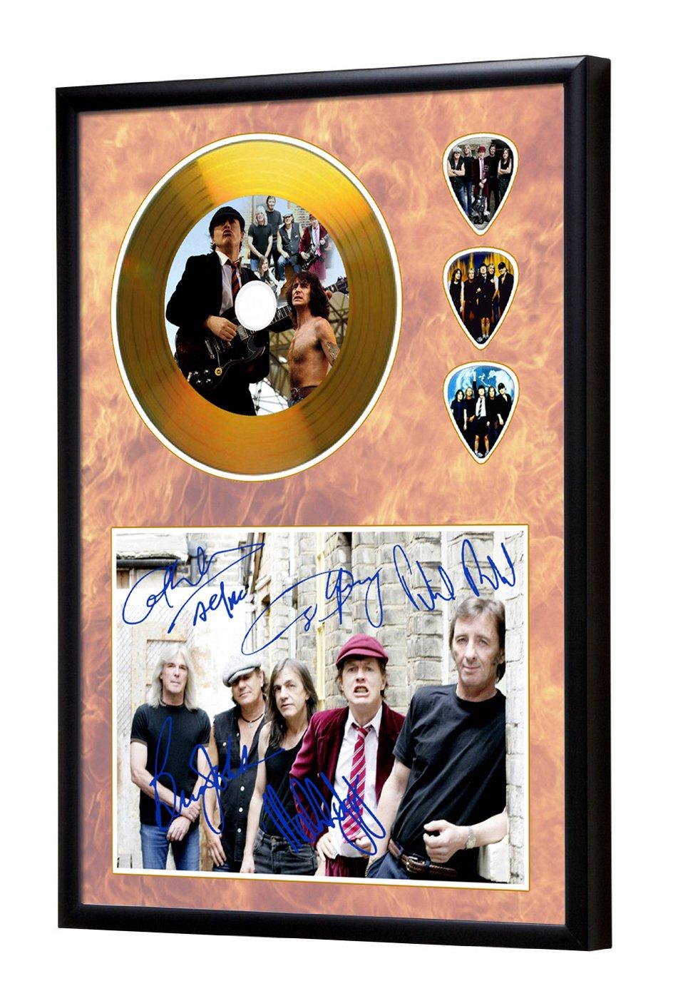 ACDC Gerahmte CD Gold Disc Display & Plektren (A4) We Love Guitars