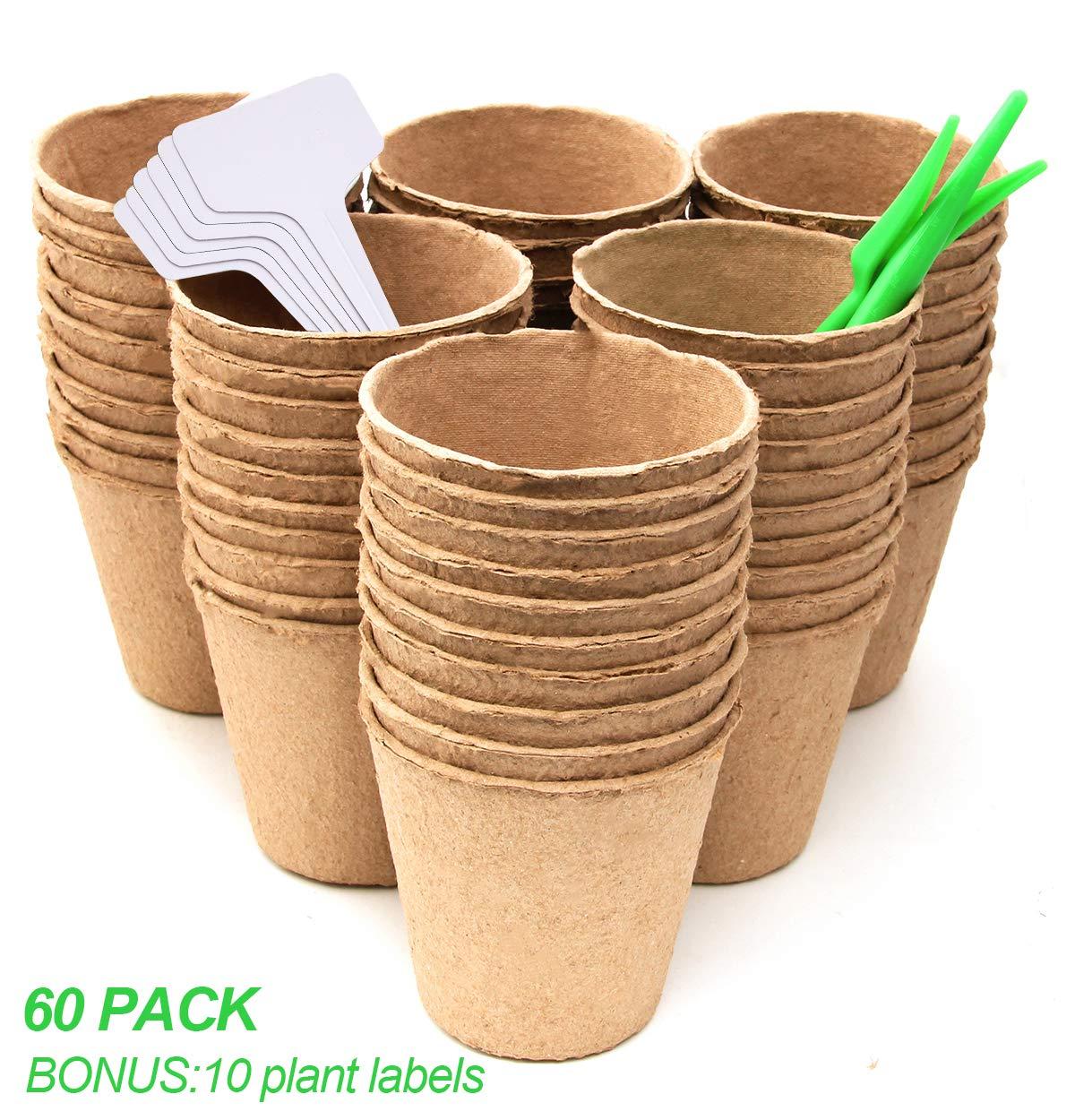 Coolrunner 3 Inch Peat Pots 60 Pack , Seedling Herb Seed Starter Pots Kit, Plant Starters, Germination Nursery Pots Bonus 10 Plant Labels