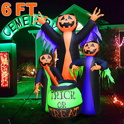 Halloween Inflatable Witch 6ft Halloween Outdoor Decorations Inflatable Built In Led Lights Halloween Blow Up Yard Decorations Scary Jumbo Model Air