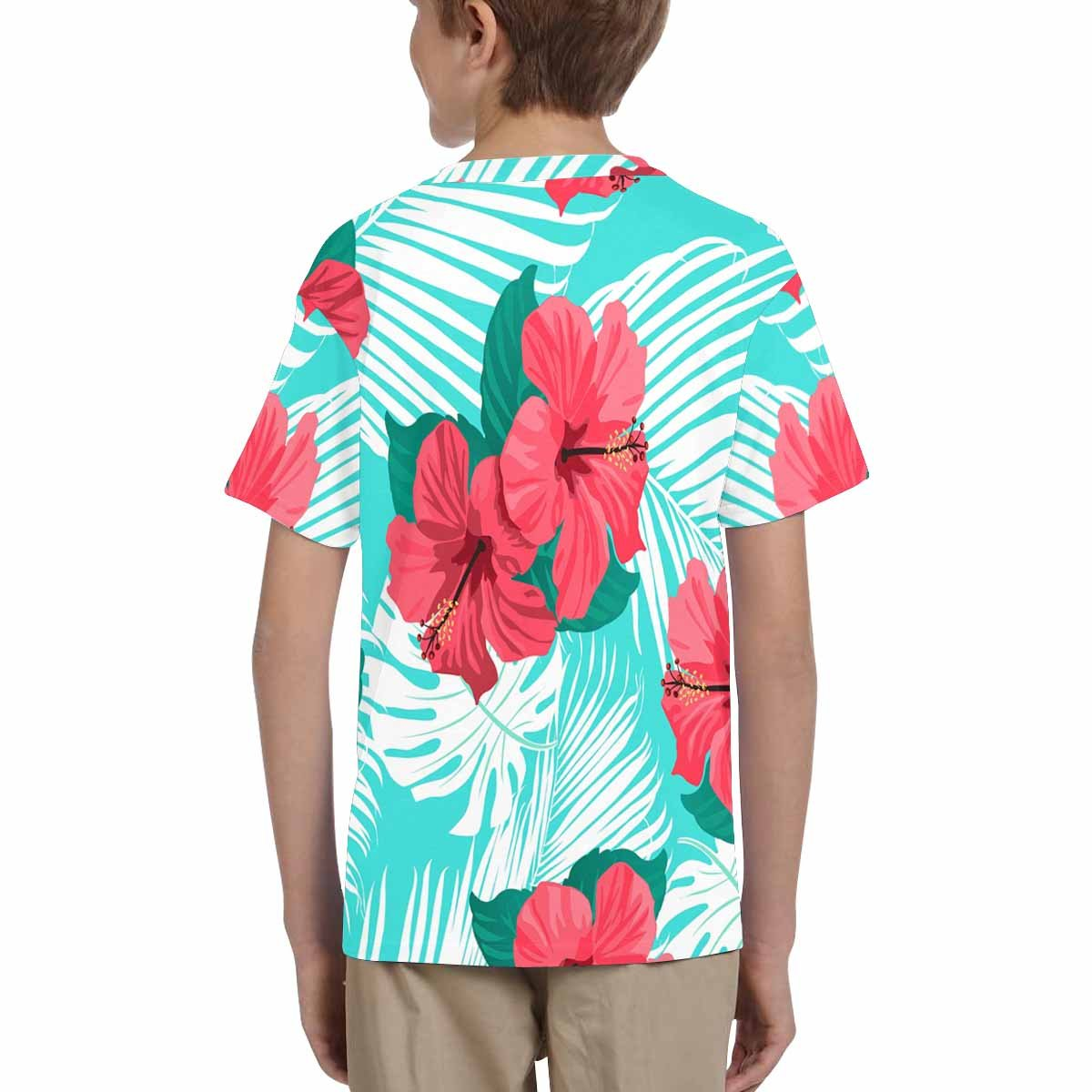 INTERESTPRINT Kids T-Shirts Tropical Flowers and Palm Leaves XS-XL