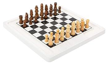 11395 Juego de Mesa de ajedrez y Damas, Small Foot, de Madera, Dos ...