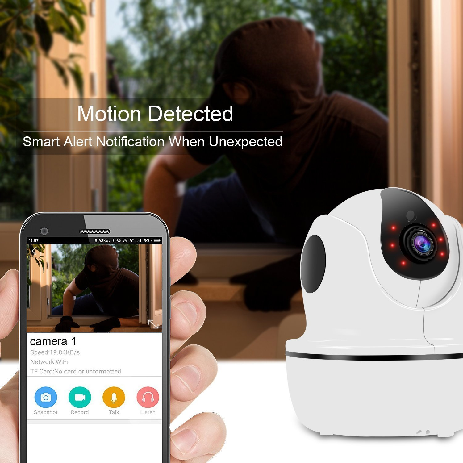 1080P HD Security Camera,Sea Wit Wireless IP Camera with Pan/Tilt/Zoom, Two Way Audio,Control Appliances,107°Viewing Angle,Night Vision,Home Surveillance Camera,Baby Pet Nanny Camera Puppy Cam –White by Sea Wit (Image #6)
