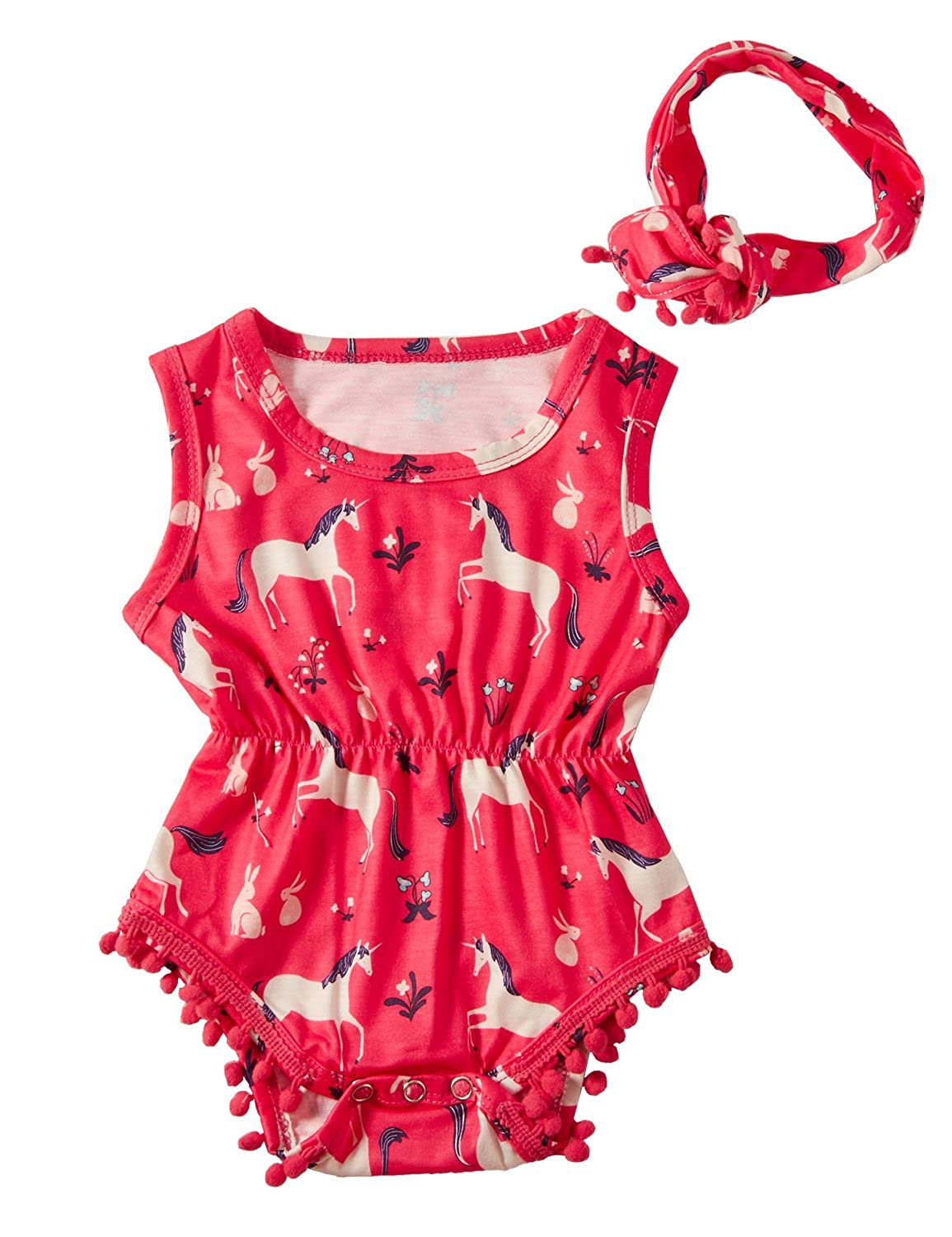 Funnycokid Baby Girls Romper Cute Ruffles Jumpsuit Headband