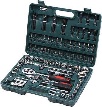 94Pcs estuche herramientas llaves de llaves de carraca 1/2 1/4 Socket estuche de llaves de vaso – verde: Amazon.es: Bricolaje y herramientas