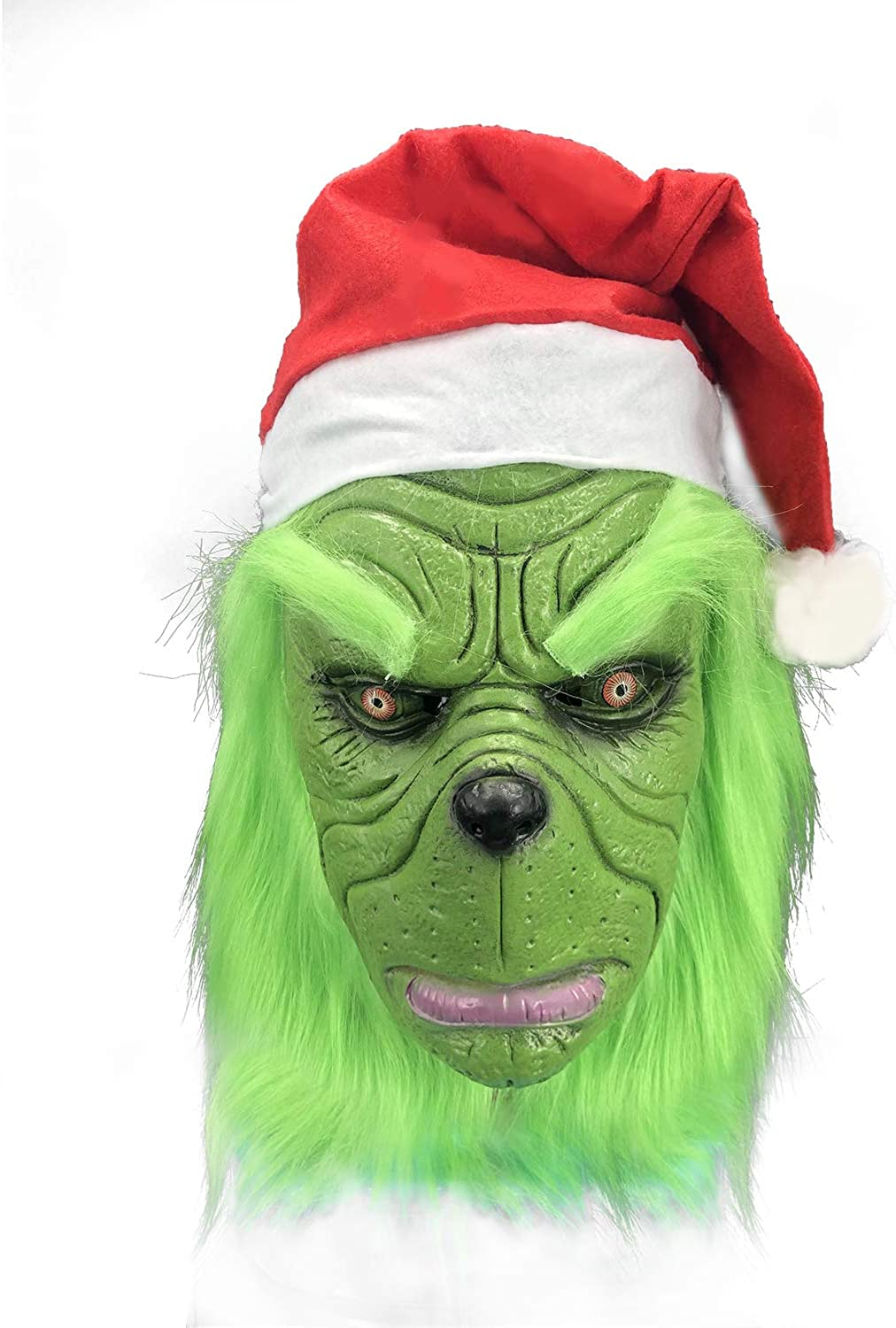 Christmas Geek Mask,Green Monster Grinch Latex Mask, Deluxe Latex Party Funny,Carnival,Christmas Ornaments Green.
