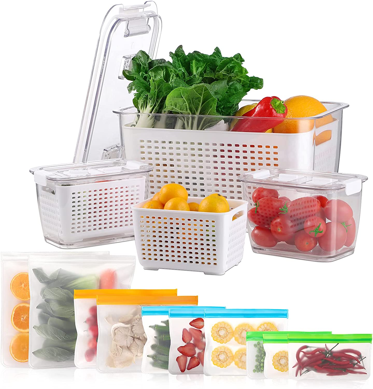 Reusable Freezer Bags & Fruit Storage Containers for Fridge, 3 Pack Produce Saver Containers + 10 Pack BPA FREE Reusable Food Storage Bags, Vegetable Fruit Container Storage Resealable Lunch Bag for Meat Fruit Veggies