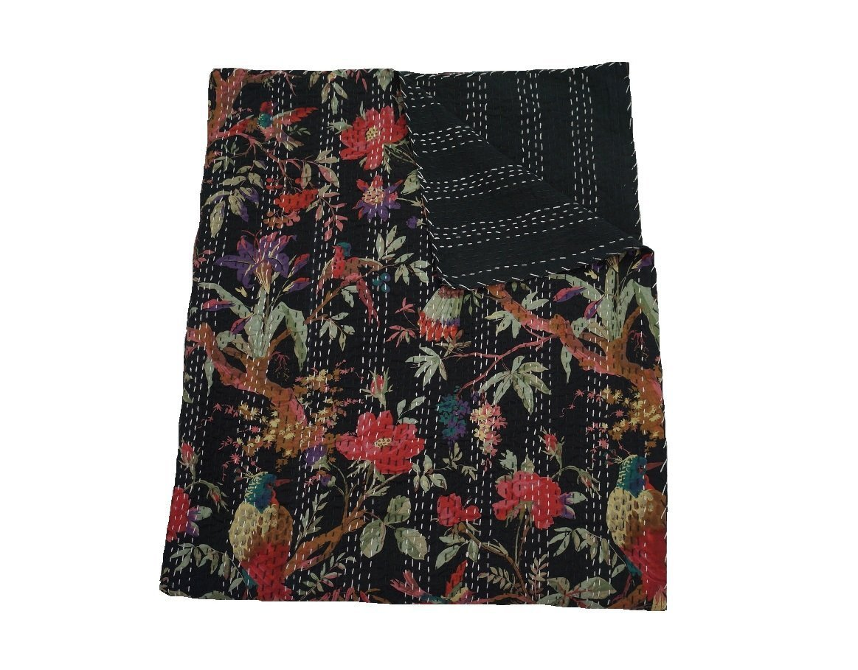 Sophia Art Indian Black Cotton Kantha Handmade Bird Print Quilt Twin Size Bed Cover Gudri