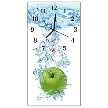 Deko Cristal Reloj Manzana Agua Reloj de Vidrio acrílico, Rectangular Grandes Diseño Reloj de