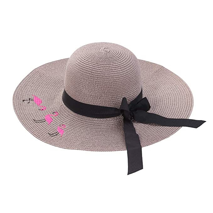 6a1e310b Image Unavailable. Image not available for. Color: Women's Big Brim Sun Hat  Floppy Flamingo Bowknot Straw ...