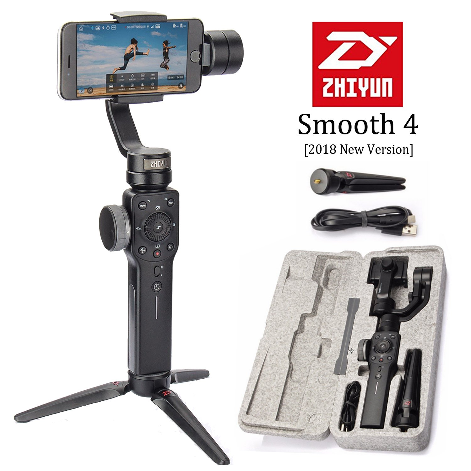 Zhiyun Smooth 4 3-Axis Handheld Smartphone Gimbal Stabilizer, Upgraded Phone Gyro Stabilizer Vlog Tripod w/Focus Pull&Zoom for iPhone Xs Max X/8 Plus/7/SE Samsung Galaxy S9+/S8/S7 etc Mobiles (Black) by zhi yun