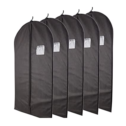 8a1fa0212c6b Plixio Garment Bags Suit Bag for Travel and Clothing Storage of Dresses,  Dress Shirts, Coats— Includes Zipper and Transparent Window (Black- 5 Pack:  ...