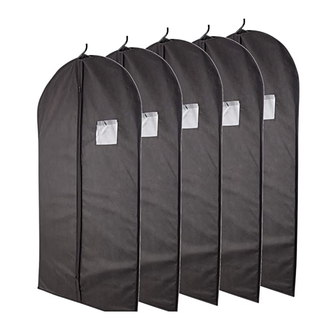 Plixio Garment Bags Suit Bag for Travel and Clothing Storage of Dresses, Dress Shirts, Coats— Includes Zipper and Transparent Window (Black- 5 Pack: ...