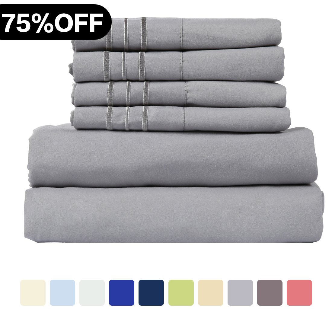 WARM HARBOR Microfiber Sheet Set Super Soft 1800 Thread Count Deep Pocket Bed Sheets Wrinkle, Fade, Stain Resistant Hypoallergenic -4 Piece(Grey, Twin XL)