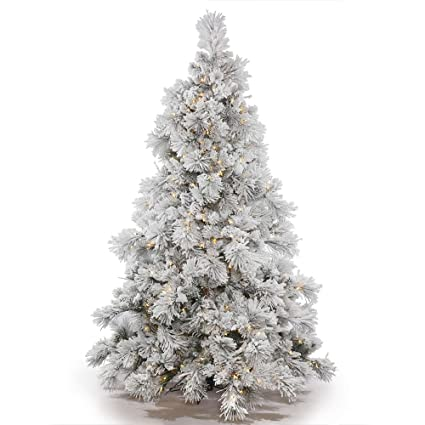 Vickerman Flocked Alberta Artificial Christmas Tree with Artificial Pine  Cones and 150 Warm White LED Lights - Amazon.com: Vickerman Flocked Alberta Artificial Christmas Tree With