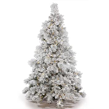 Amazon.com: Vickerman Flocked Alberta Artificial Christmas Tree ...