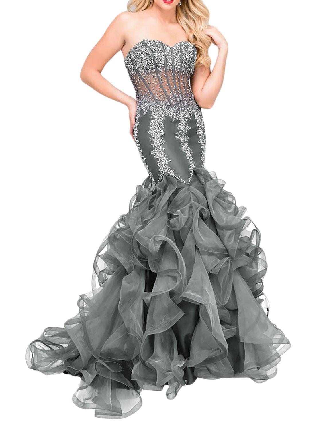 YSMei Women's Long Prom Dress Mermaid Beaded Ball Quinceanera Gowns A line Organza Train Gray 16