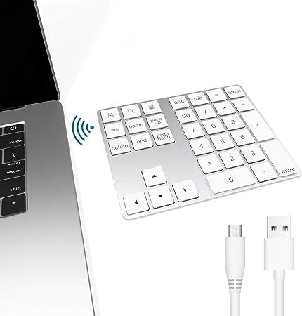 Teclado numérico Bluetooth, Bawanfa Teclado Numérico Inalámbrico Recargable 34 Teclas Entrada Datos Teclado Numérico Compatible con ...