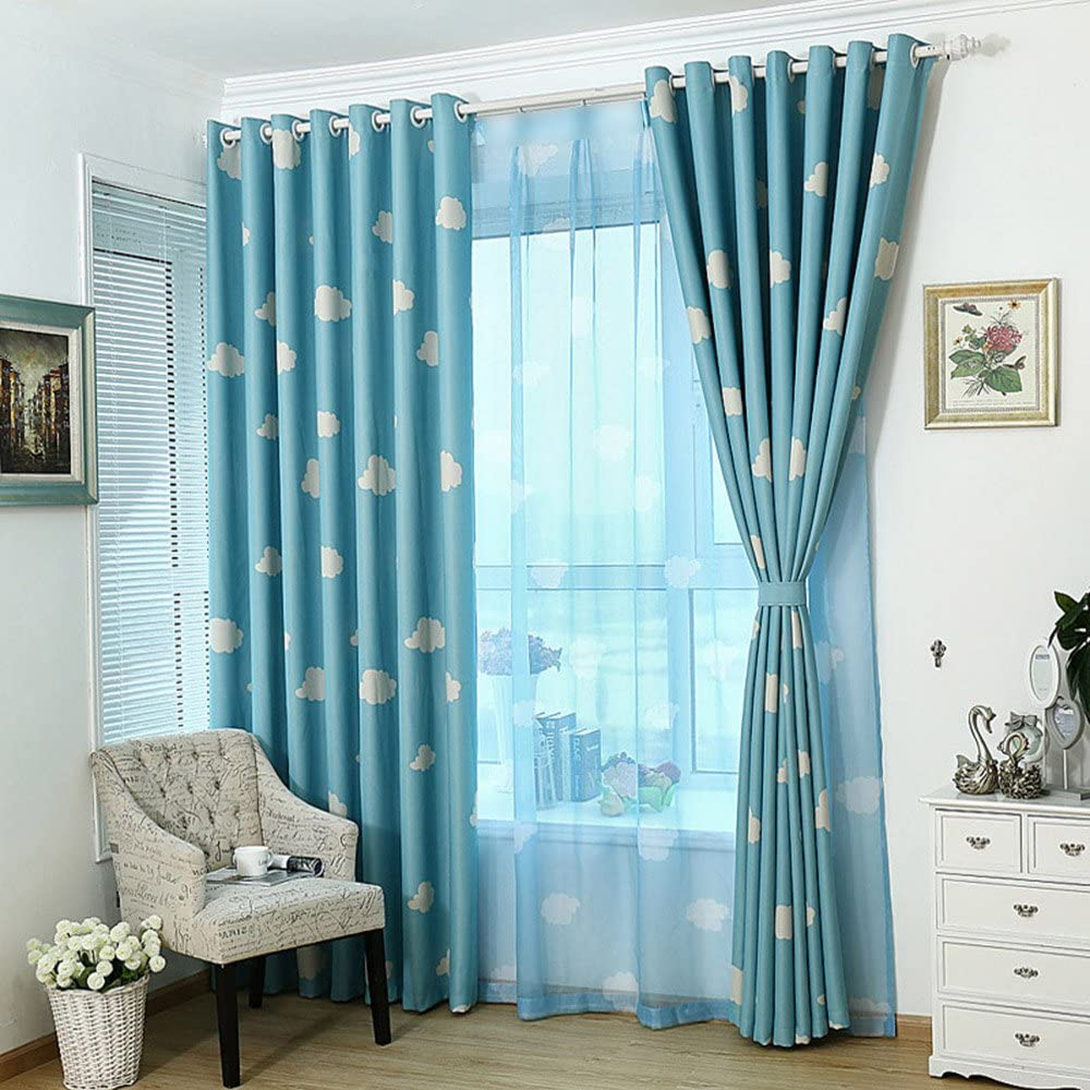 topxingch Window Curtains Cartoon Car Printed Transparent Blackout Tulle Curtains for Kids Room Living Room Blue