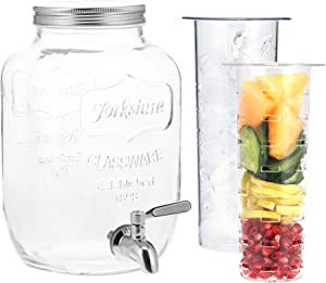 Navaris Beverage Dispenser with Spigot - 1 Gallon (4 L) Glass Drink Jar with Fruit Infuser and Ice Insert - for Cold Drinks, Water, Parties