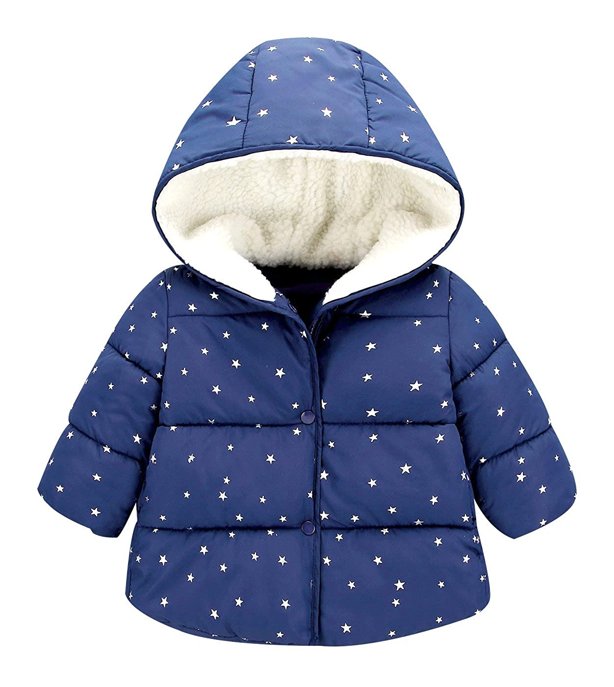 Happy Cherry Toddler Kids Warm Outerwear Jackets Baby Padded Hood Down Coat