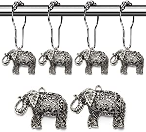 Rust Proof Shower Curtain Hooks - Brushed Nickel Rings with Elephant Decorative Accessories Set Design for Bathroom Curtain, Kids Room, Home, condo Decor (Antique Silver, Stainless Steel, Set of 12)
