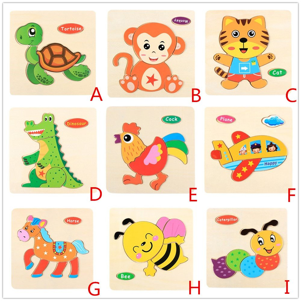 CieKen Wooden Puzzles for Toddlers 2 Years,Wooden Puzzle Educational Developmental Baby Kids Training Toy by CieKen (Image #2)