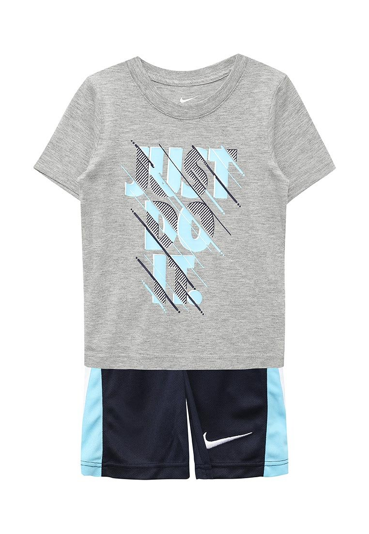 Nike Just Do It Infant Boys Two Piece Tee Shirt and Short Set Dark Grey Heather/Navy Blue Size 12 Months
