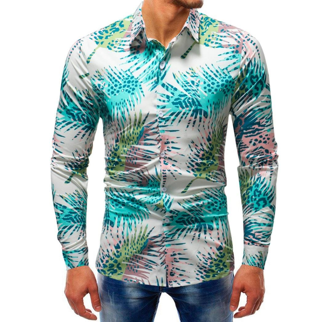 Clearance Deals Mens Long Sleeve Button Down Shirts vermers Men Fashion Printed Blouse Casual Slim Shirts Tops(3XL, Multicolor1)