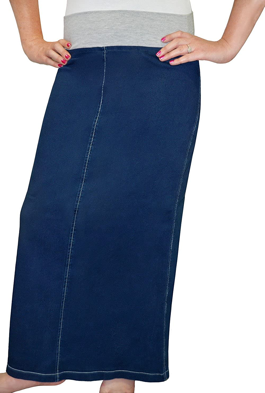 fcab25f4b87c72 Kosher Casual Women's Modest Straight Maxi Length Denim Skirt Stretch  Waistband No Slits at Amazon Women's Clothing store:
