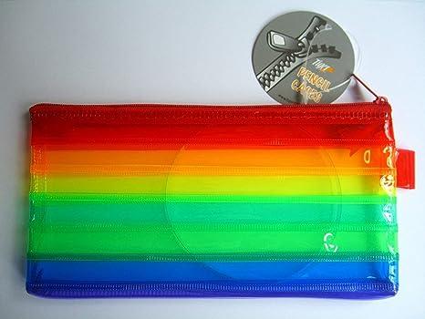 Tiger - Estuche con cremallera para lápices, colores del arcoíris, 20,3 x 10,2 cm, ideal para archivar/almacenar/volver a la escuela: Amazon.es: Oficina y papelería
