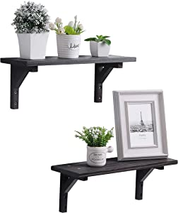 PENGKE Wall Mounted Floating Shelves, Set of 2, Display Ledge, Storage Rack for Room/Kitchen/Office - Retro Brown
