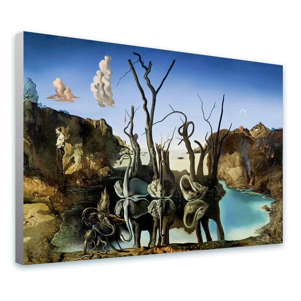 Alonline Art - Swans Reflecting Elephants by Salvador Dali | framed stretched canvas on a ready to hang frame - 100% cotton - gallery wrapped | 30''x20'' - 76x51cm | Wall art home decor for toilet HD by Alonline Art