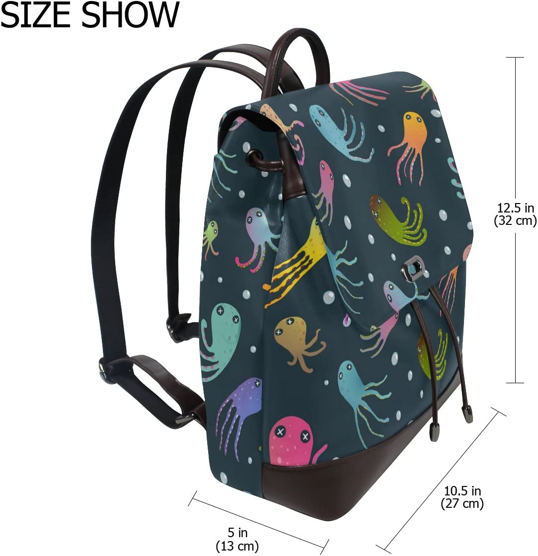 KUWT Colorful Octopus PU Leather Backpack Animal Photo Custom Shoulder Bag School College Book Bag Rucksack Casual Daypacks for Women and Girl
