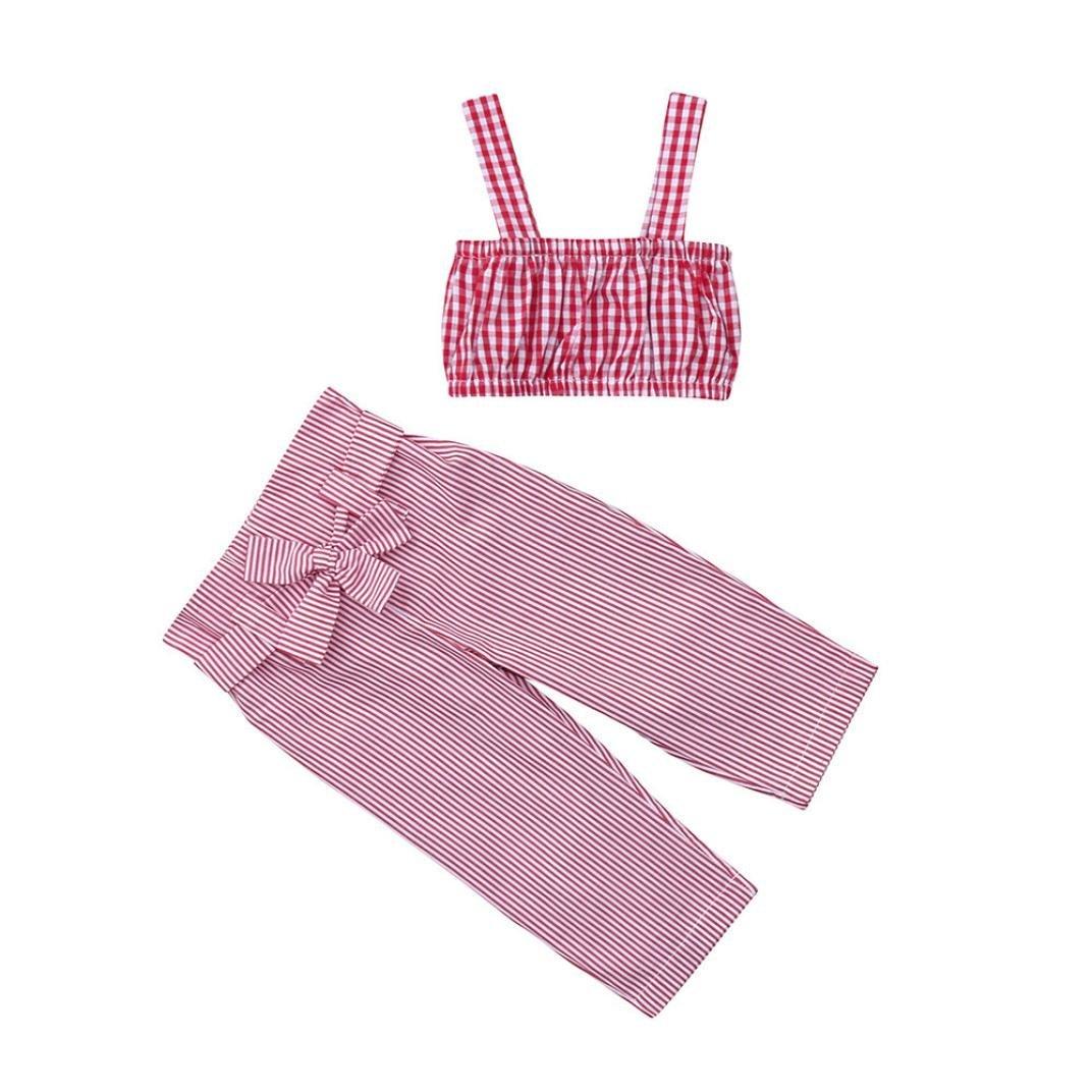 ❤ 2pcs Neonata Bowknot Completini ❤ Halter Plaid Gilet Camicia Cime + Cintura Strisce Pantaloni Ragazza Vestiti Set