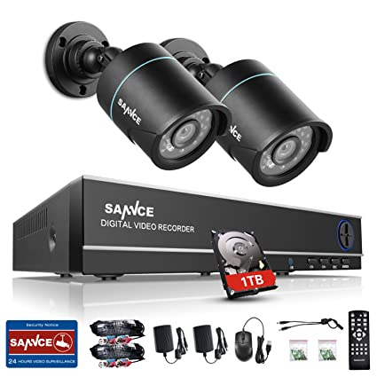 SANNCE Kit de sistema de seguridad 4CH DVR y 2 cámaras de vigilancia minotor remoto por