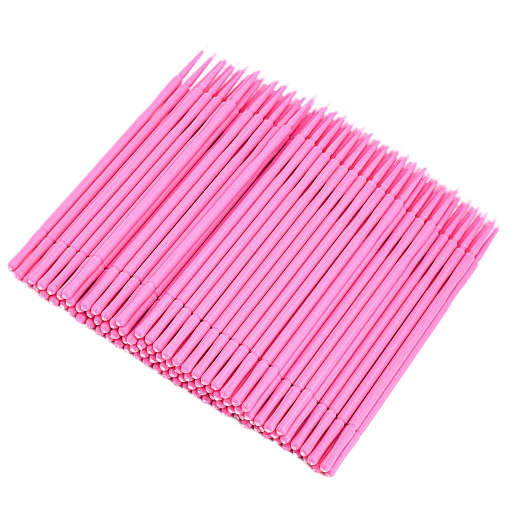 Sharplace 100Pcs/Set Microblading Micro Swab Lint Tattoo Permanent Makeup Brushes Eyelash Extension Cleaning Removal Applicators - Pink, as described
