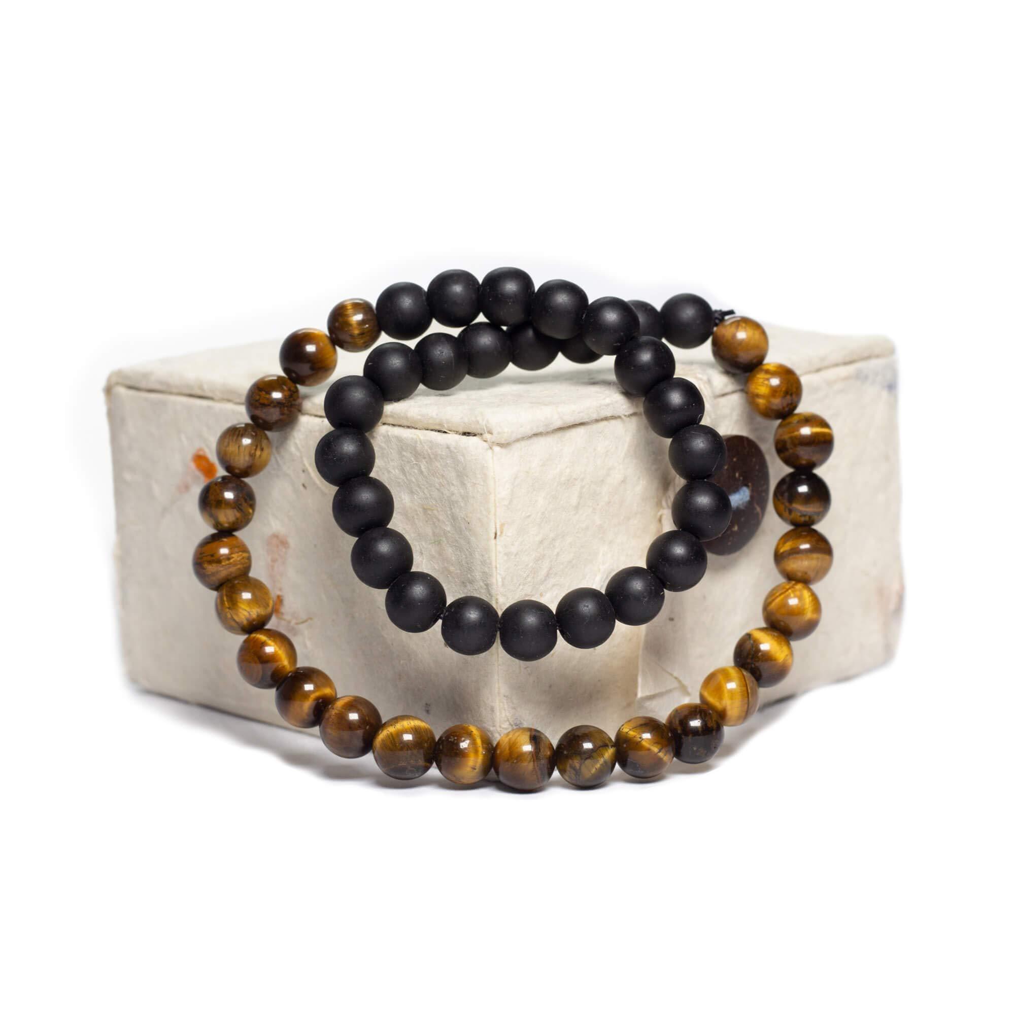 Handmade Beaded Double Wrap Bracelet (Tigers Eye & Black Onyx)- 8mm Comes With Detachable Charms, Cotton Bag & Gift Box - Meditation/Spiritual/Yoga Gift Set- Chakra Healing, Reiki, Health & Wellness