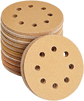 Orbital Sander Discs Include 60 80 100 120 150 180 240 320 400 600 and 800 Grit Gold Sand Sheets 5 Inch 8 Hole Hook and Loop Sanding Discs Sandpaper 110PCS