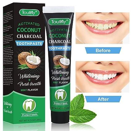 Pasta de dientes blanqueadora para dientes de carbón vegetal, pasta de dientes blanqueadora para carbón