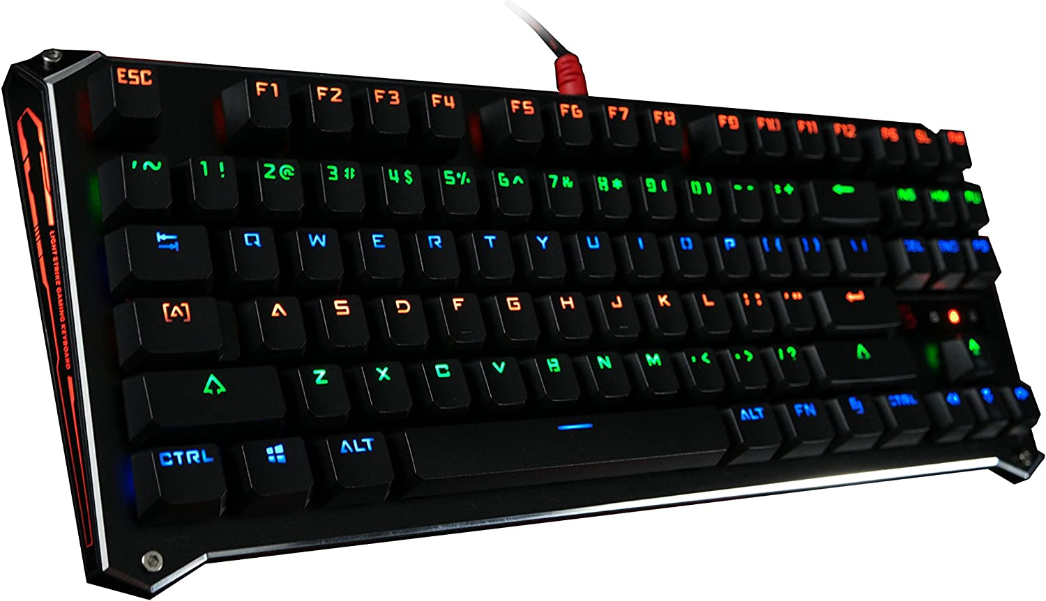 B830 Light Strike Compact Optical Gaming Keyboard (Tactile & Clicky) - Faster Than Mechanical - 0.2ms Key Response, 1:1 Raw Input, Fully Programmable - Neon LED Backlit [LK Blue Switch]