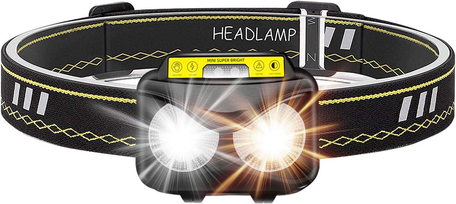 Mini Headlight LED Headlamp Head Torch Hiking Camping Waterproof Ultra Bri DD